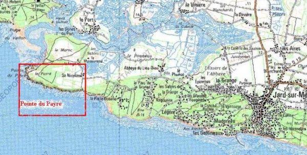 Carte générale situant la zone de la Pointe du Payré