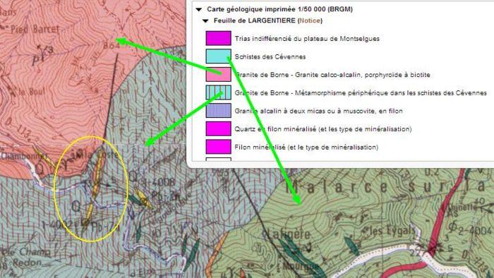 Carte géologique du site